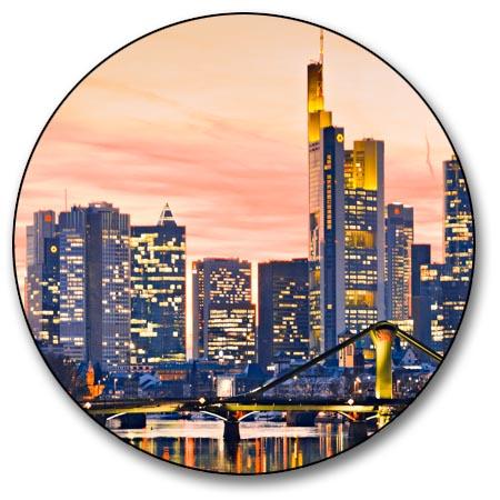 leinwand bild frankfurt skyline sonnenuntergang stadt bilder rhein main kunst xl. Black Bedroom Furniture Sets. Home Design Ideas
