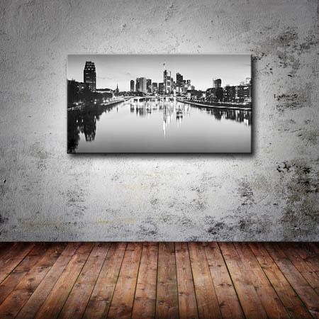 leinwand bild frankfurt skyline schwarzwei wasser spiegelung st dte bilder bw l ebay. Black Bedroom Furniture Sets. Home Design Ideas