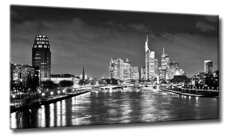 leinwand kunst bild frankfurt nacht skyline schwarzwei. Black Bedroom Furniture Sets. Home Design Ideas