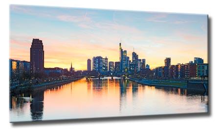 leinwand bild frankfurt at night skyline stadt bilder deutschland wasser bilder ebay. Black Bedroom Furniture Sets. Home Design Ideas