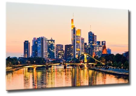 leinwand bild frankfurt skyline sonnenuntergang fl er br cke mainhattan bilder ebay. Black Bedroom Furniture Sets. Home Design Ideas
