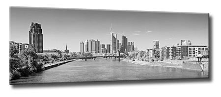 leinwand bild frankfurt skyline schwarzwei panorama bei tag kunst abstrakt main ebay. Black Bedroom Furniture Sets. Home Design Ideas