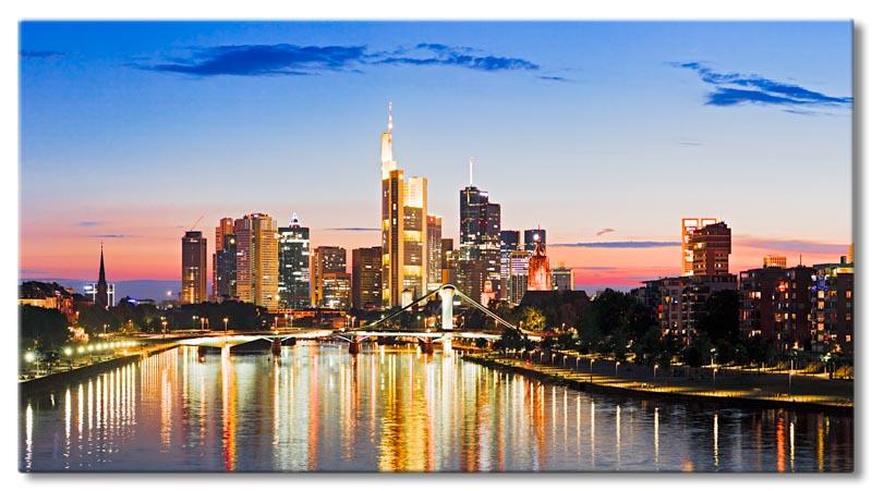 leinwand bild frankfurt skyline sonnenuntergang mainhattan wasser st dte bilder ebay. Black Bedroom Furniture Sets. Home Design Ideas