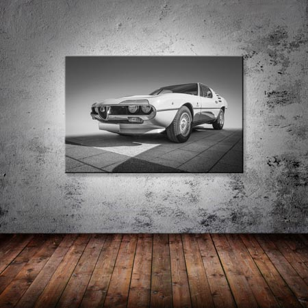 Leinwand Bild Alfa Romeo Schwarzweiß Vintage Kunst Wandbild Oldtimer Italien Art