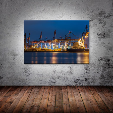 Leinwand Bild Leinwand Bild Hamburg Hafen Überseehafen Container Kran Elbe Blau