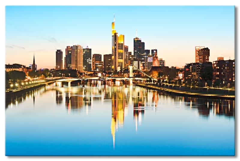 leinwand bild frankfurt skyline mainhatten banken spiegelung wasser stadt bilder ebay. Black Bedroom Furniture Sets. Home Design Ideas